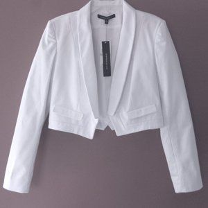 NWT Cropped jacket 8 White $295 Cotton bl Short